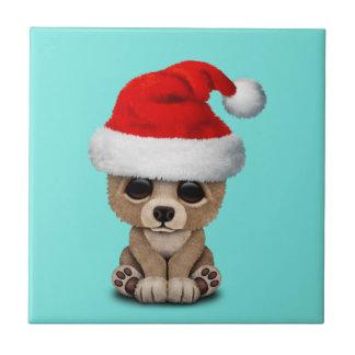 Baby Bear Wearing a Santa Hat Tile