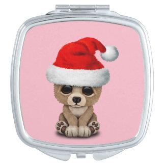 Baby Bear Wearing a Santa Hat Travel Mirror