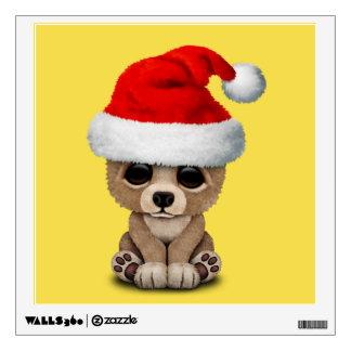 Baby Bear Wearing a Santa Hat Wall Sticker
