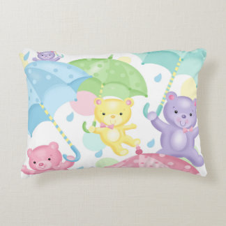 Baby Bears and Umbrellas Accent Pillow