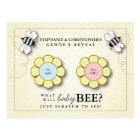 Baby Bee Gender Reveal Pretend Scratcher Game Post Postcard