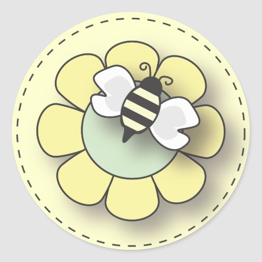 Baby Bee in Neutral Yellow Classic Round Sticker