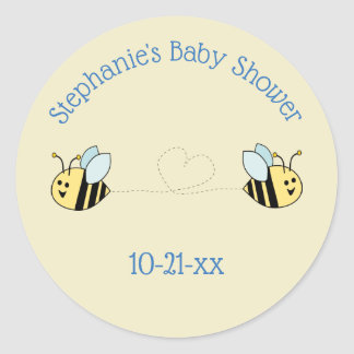 Baby Bee Twin Boy Party Favour Classic Round Sticker