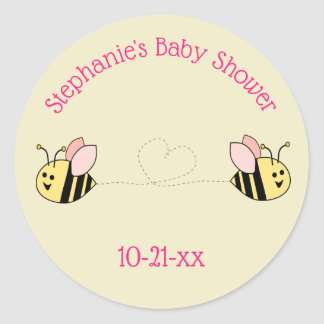 Baby Bee Twin Girl Thank You Classic Round Sticker