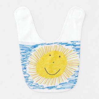 Baby Bib with drawing sunshine.