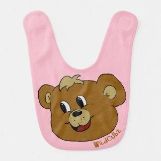 Baby bib with happy bear on it