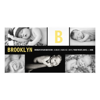 Baby Big Initial Multi Photo Birth Announcement Customized Photo Card