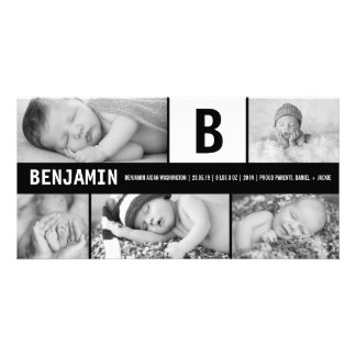 Baby Big Initial Multi Photo Birth Announcement Personalized Photo Card