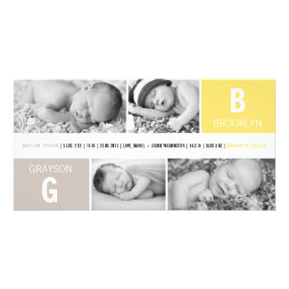 Baby Big Initial Photo Twins Birth Announcements Custom Photo Card