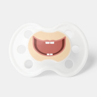 Baby big smile on pacifier