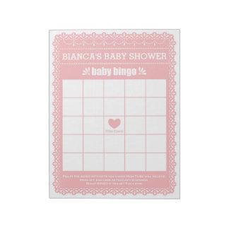 Baby Bingo Pink Papel Picado Baby Shower Game Notepad