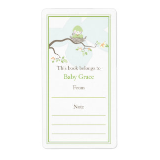 Baby Bird Bookplate Personalized Shipping Label