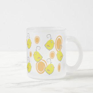 baby bird yellow pattern 10 oz frosted glass coffee mug