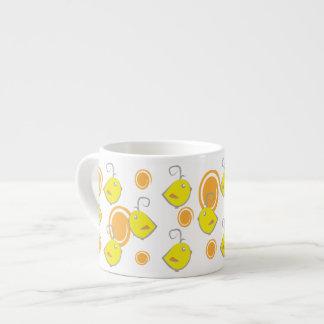 baby bird yellow pattern chickens and dots espresso mugs