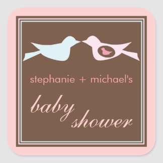 Baby Birdie Couple Girl Baby Shower Sticker