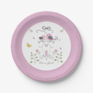 Baby Birdies Shower Plates-Girl Paper Plate