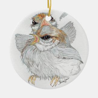 Baby Birds Ceramic Ornament