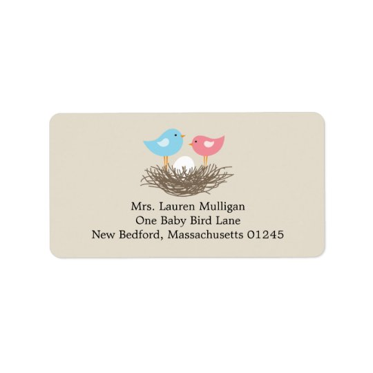 Baby Bird's Nest Baby Shower Label