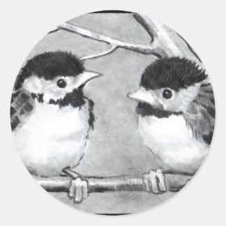 BABY BIRDS TALKING/TWEETING ROUND STICKER