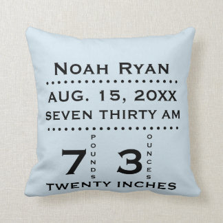 Baby Birth Announcement Pillow (blue)