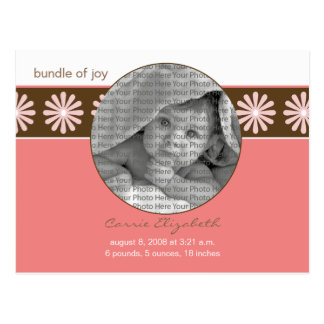 Baby Birth Announcement Pink Flowers Postcard