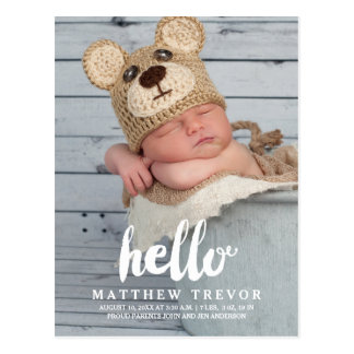 Baby Birth Announcement Postcard | Hello