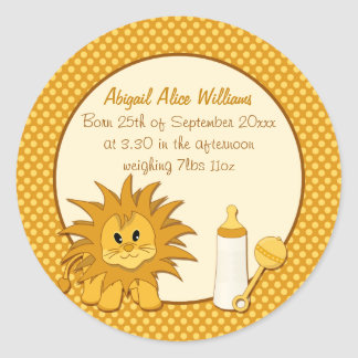 Baby Birth Announcement with Little Lion Cub Classic Round Sticker