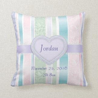 Baby Birth Keepsake Colorful Stripes Throw Pillow