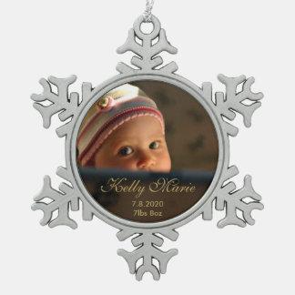 Baby Birth Photo Keepsake Snowflake Pewter Christmas Ornament