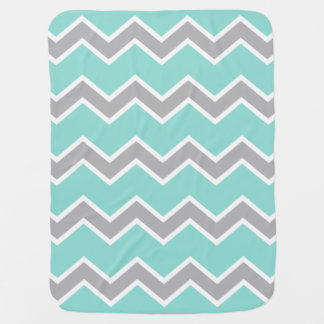 Baby Birth Stats Aqua Gray Chevron Print Pattern Baby Blanket
