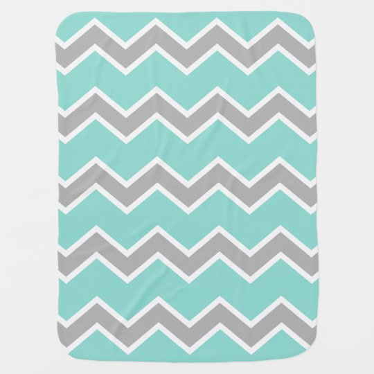 Baby Birth Stats Aqua Grey Chevron Print Pattern Baby Blanket