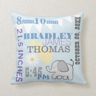 Baby Birth Stats Blue Birthday Weight Throw Pillow