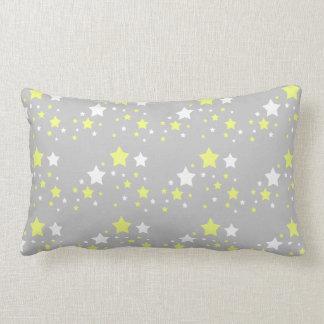 Baby Birth Stats Celestial Yellow White Stars Gray Lumbar Pillow