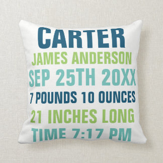 Baby Birth Stats custom Pillow
