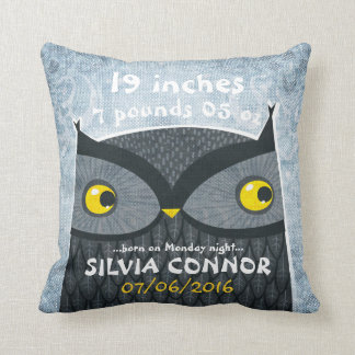 Baby Birth Stats Funny Owl Linen Pillow