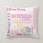 Baby Birth Stats Pink Birthday Weight Throw Pillow