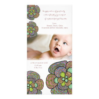 Baby Birth Thank You Japanese Floral Photo Card