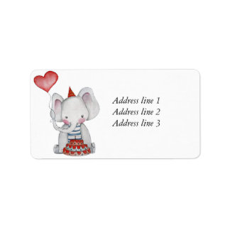 Baby Birthday Elephant Address Label