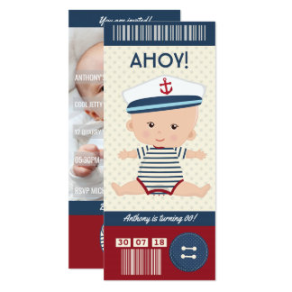 Baby Birthday Nautical Boarding Pass Ticket photo Card