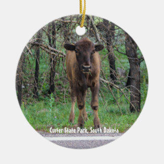 Baby Bison Ceramic Ornament