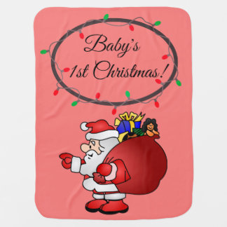 Baby blanket, baby's first Christmas with Santa. Baby Blanket