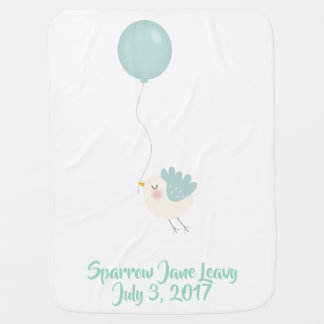 Baby Blanket Bird Balloon Babys Name Birth