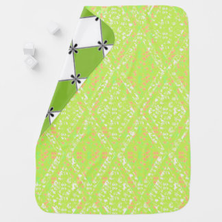 Baby-Blanket-Diamond's & Lace-Green_Two-Sided Baby Blanket