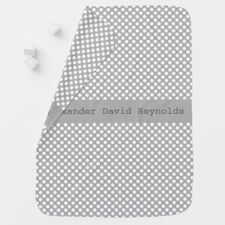 Baby Blanket, Gray Personalized Polka Dot Blanket