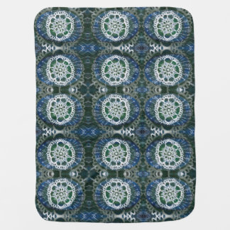 Baby Blanket White mandala blue background