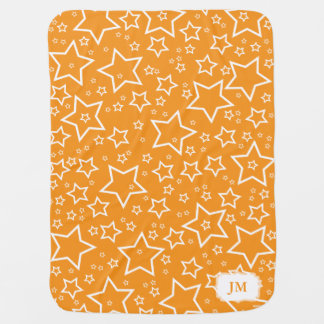 Baby Blanket with Stars   Orange and White