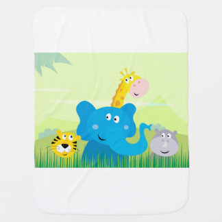 Baby blanket with stylish Safari illustration