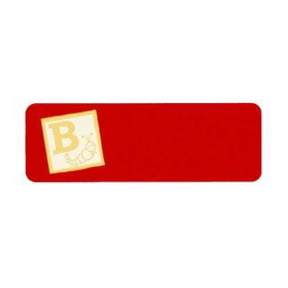 Baby Block B Return Address Label