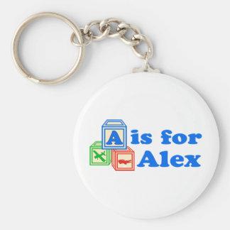 Baby Blocks Alex Basic Round Button Keychain