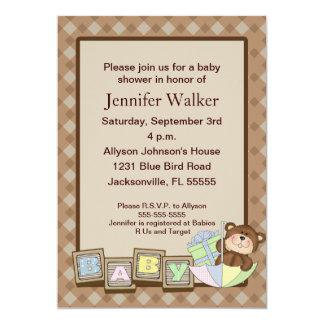 Baby Blocks Baby Shower - Brown Card